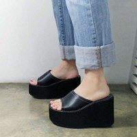 kami et muse Black platform tall up slippers_KM17s119