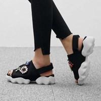kami et muse Jewel beads velcro strap sandals_KM17s126