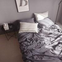 N 에스타도 천연염색 양면침구 - 네이비&크림 (싱글/슈퍼싱글)