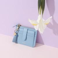 [태슬+스트랩증정]Dijon 301S Flap mini Card Wallet powder blue
