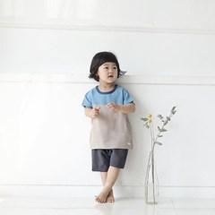 [풍기인견 평직]모모 블루 인견유아상하복
