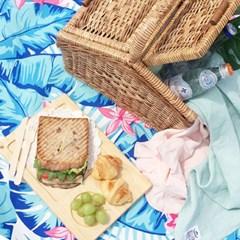 [방수피크닉매트] Tropical paradise - Blue (Small+부직포가방세트)