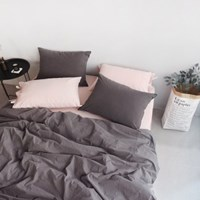 N 에스타도 천연염색 양면침구 - 베이지핑크&차콜 (싱글/슈퍼싱글)