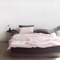 N 에스타도 천연염색 양면침구 - 베이지핑크&차콜 (더블/퀸)