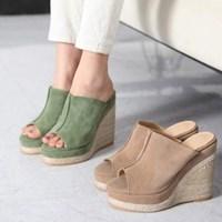 kami et muse Toe open platform wedge slippers_KM17s146
