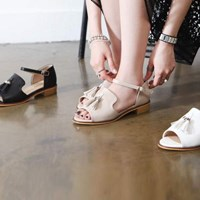 kami et muse Gold ring tessle strap flat sandals_KM17s144