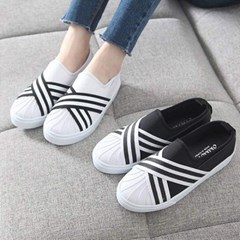 kami et muse Black white stripe banding sneakers_KM17s141