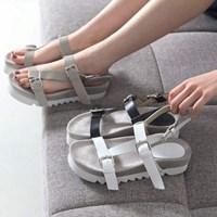 kami et muse Cross belted strap platform sandals_KM17s137