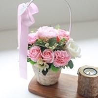 핑크 카네이션 화이트바구니_(488410)