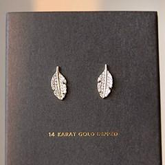 [하우즈쉬나우] 깃털 나뭇잎 14K Gold Dipped Earrings