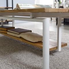 [트리빔하우스] 라온 철제 원목 1200 좌식 수납 테이블