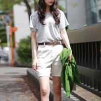 Simple cotton medium pants