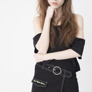 Ring Belt Unbalance Denim Skirt (BLACK)