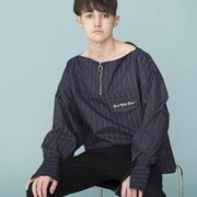 Boat Neck Stripe Shirts (NAVY)