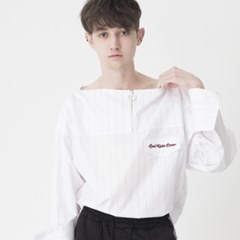 Boat Neck Stripe Shirts (WHITE)