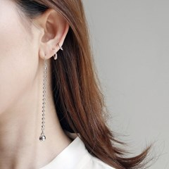 long silver ball earring