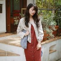 Pocket linen no-collar jacket