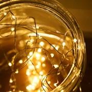 LED 50P 와이어 건전지(방수케이스) [웜]