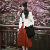 Daily pin-tuck long skirt