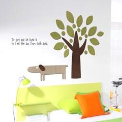 우드스티커- 강아지와나무 (컬러완제) W504 캐릭터 입체