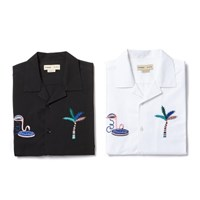 [8/31] TROPICAL LOGO OPEN COLLAR 1/2 SHIRT BLACK