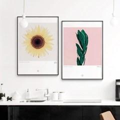 메탈 식물 핑크 나뭇잎 포스터 액자 Love Plants