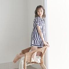 [w] Bold Stripe Short PJ Set Navy