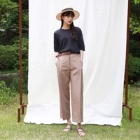 Pin-tuck linen pants