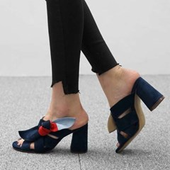 kami et muse Color point tied ribbon heel slippers _KM17s196