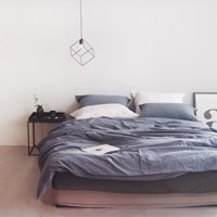 N 에스타도 천연염색 양면침구 - 네이비&블루그레이(더블/퀸)