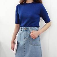 Denim midi slit skirt