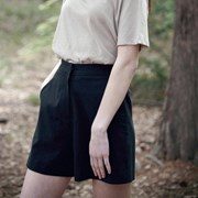 Linen Short Pants - Black