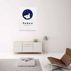 유니크 인테리어 디자인 포스터 M 우주개 라이카