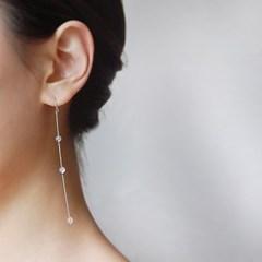 [하우즈쉬나우] 투명한 달빛, 문스톤 실버체인 귀걸이 (6월 탄생석)