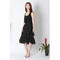 Dot Wrap Ruffle Skirt