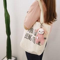에코백+분홍 양 아기 안다(삑삑이 양말인형)