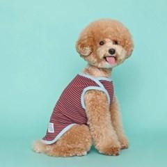 [플로트] 시그니쳐 강아지 민소매 티셔츠 - 프레쉬 버건디