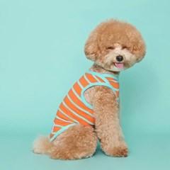 [플로트] 시그니쳐 강아지 민소매 티셔츠 - 샤이닝 오렌지