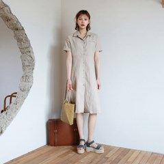 Daily linen long shirts one-piece