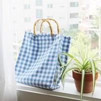 Bamboo bag _ blue check