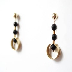 [Treaju]Black holic drop earring