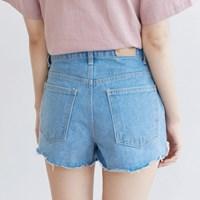 [마이블린] 핑크 라인 러프 숏 청바지_(501978)