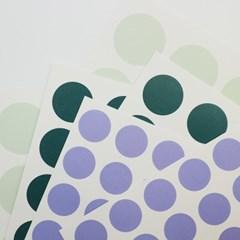 3 Color Dot Sticker (Emerald, Dark green, Light purple)