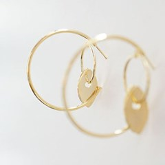 [Treaju]Round little palm tree earring