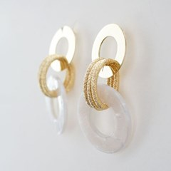 [Treaju]palm tree sanding oval earring