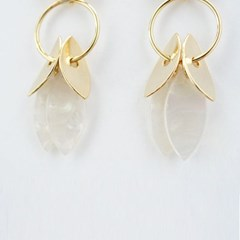 [Treaju] Gold round palm tree earring