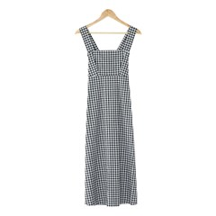 sleeveless check long ops
