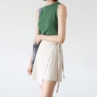 Mini wrap linen skirt