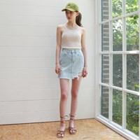Light blue damage denim skirt