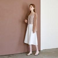 Simple flare linen skirt